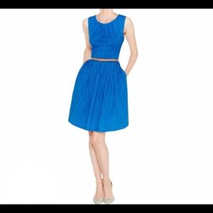 ELLEN TRACY Blue Belted Sleeveless Pleated Dress